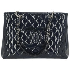 Chanel Women's Handbag Grand Shopping Tote Navy Leather