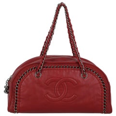 Chanel Women's Handbag Red Leather
