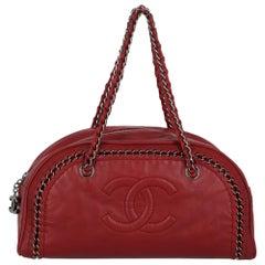 Chanel Women's Handbag Red Leather