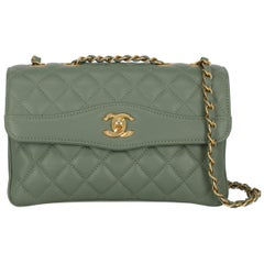 Chanel Women's Shoulder Bag Green Leather
