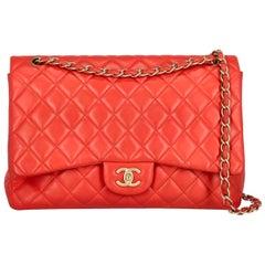 Chanel Women's Shoulder Bag Timeless Red Leather