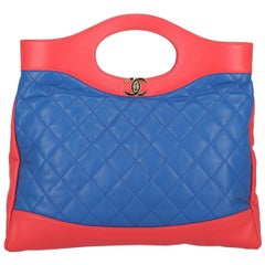 Chanel Women's Tote Bag 31 Navy/Red Leather
