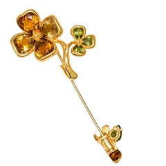 Chanel Women's Yellow Gold Floral Gemstone Pin