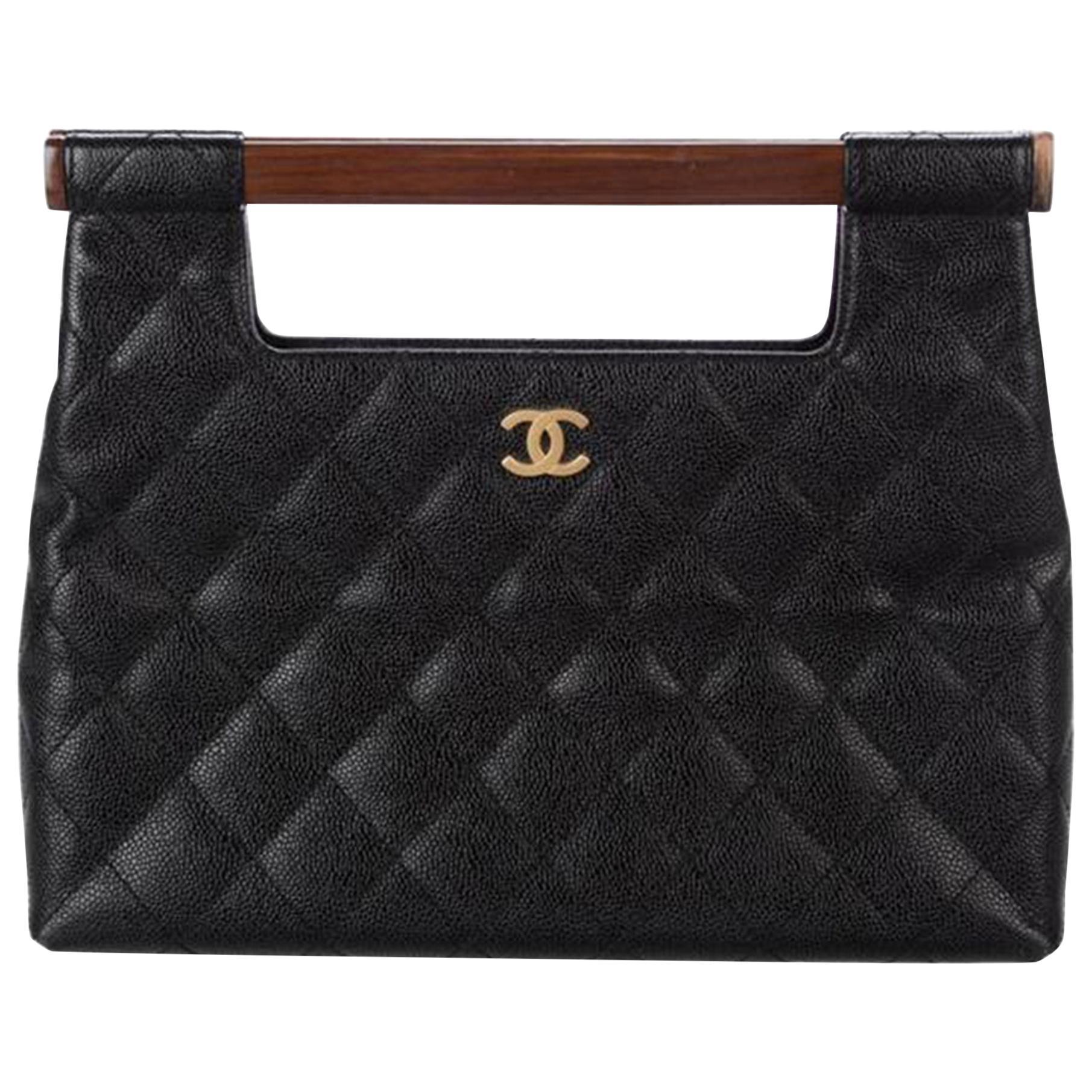 Chanel Wood Top Handle Rare Vintage Black Caviar Leather Clutch