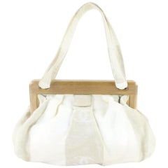Chanel Wooden Clam Shell 220711 Ivory Canvas Shoulder Bag