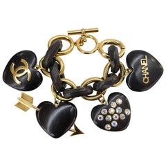 Chanel Wooden Heart Charm Bracelet Col 28