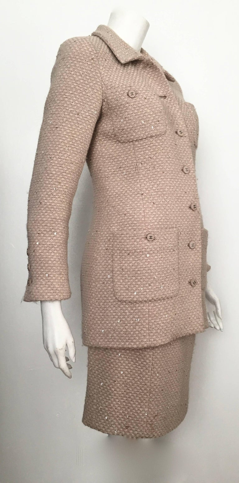 Chanel Wool Beige With Sequin Jacket And Skirt Suit Size 4