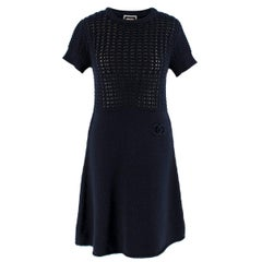 Chanel Wool & Cashmere Night Blue Knit Dress SIZE 36