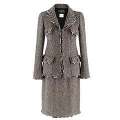 Chanel Wool Chevron Tweed Jacket & Skirt SIZE S
