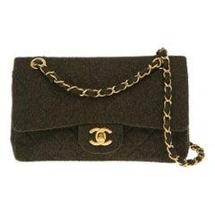 Chanel wool timeless green shoulder bag