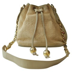 Chanel Woven Straw Vintage Crossbody Bucket Bag