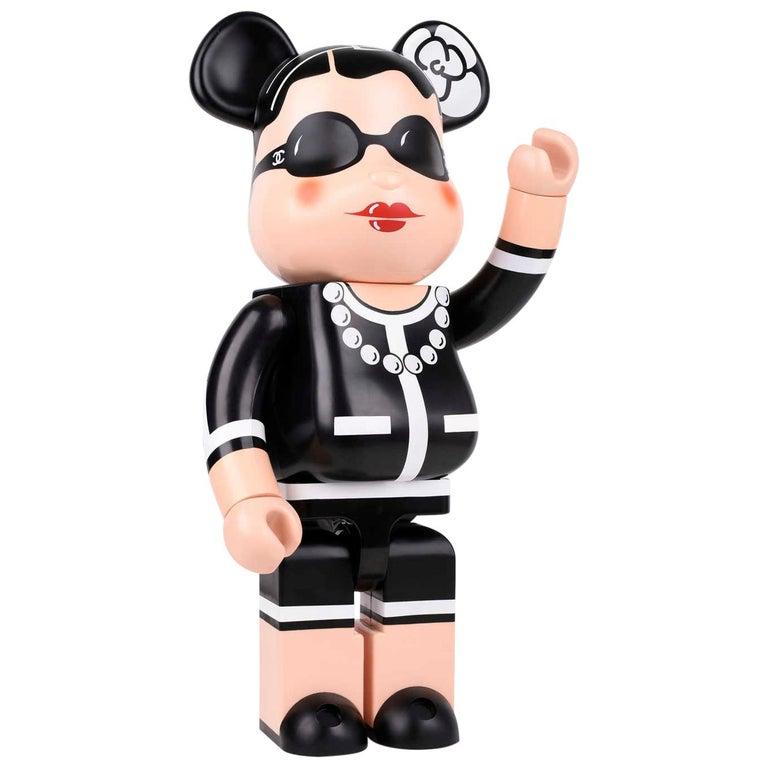 Chanel x Medicom Kubrick Limited Edition Black White Decorative Bear Toy Figure For Sale