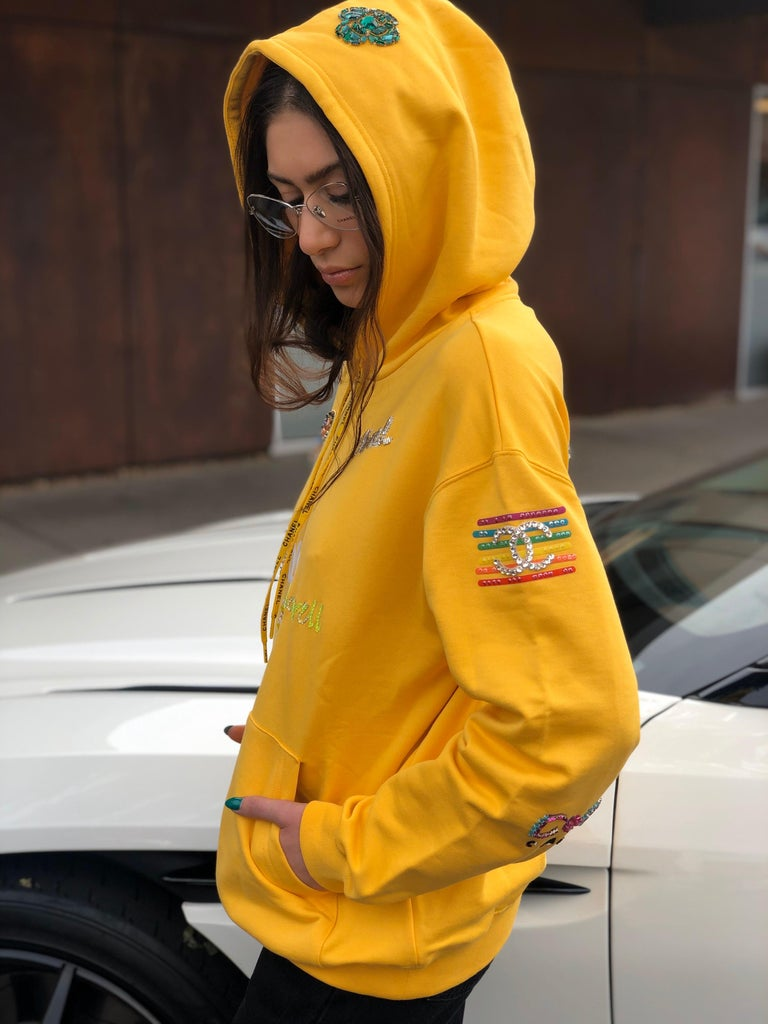 Women's or Men's Chanel x Pharrell 2019 Chanel Appliqué Sunflower Yellow Hoodie  For Sale
