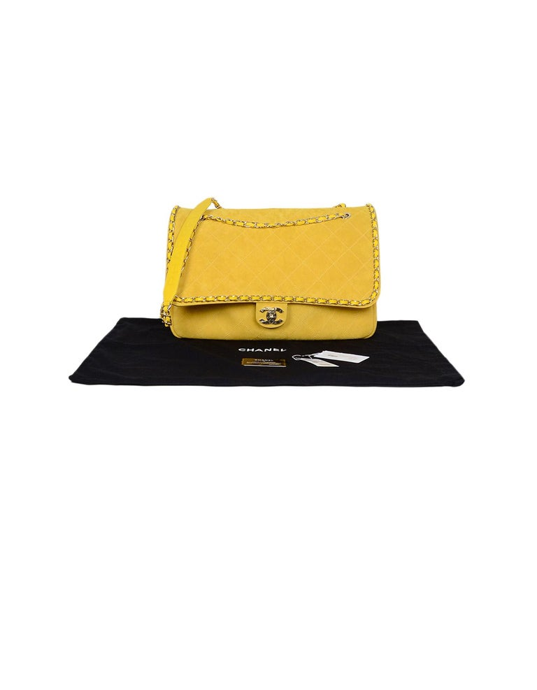 dc2995616b7a8c CHANEL x PHARRELL 2019 LIMITED EDITION Yellow Suede XXL Quilted Flap Bag  For Sale 9