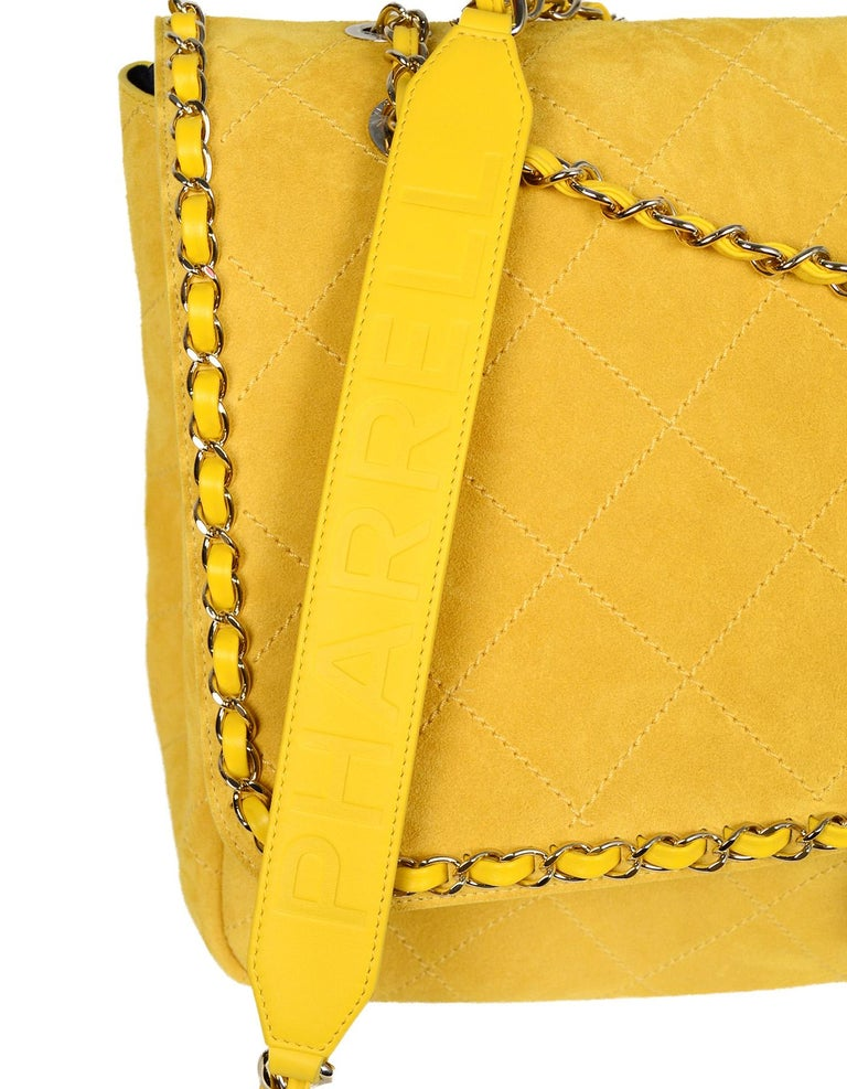 1d1be0bc9800cb CHANEL x PHARRELL 2019 LIMITED EDITION Yellow Suede XXL Quilted Flap Bag  For Sale 1
