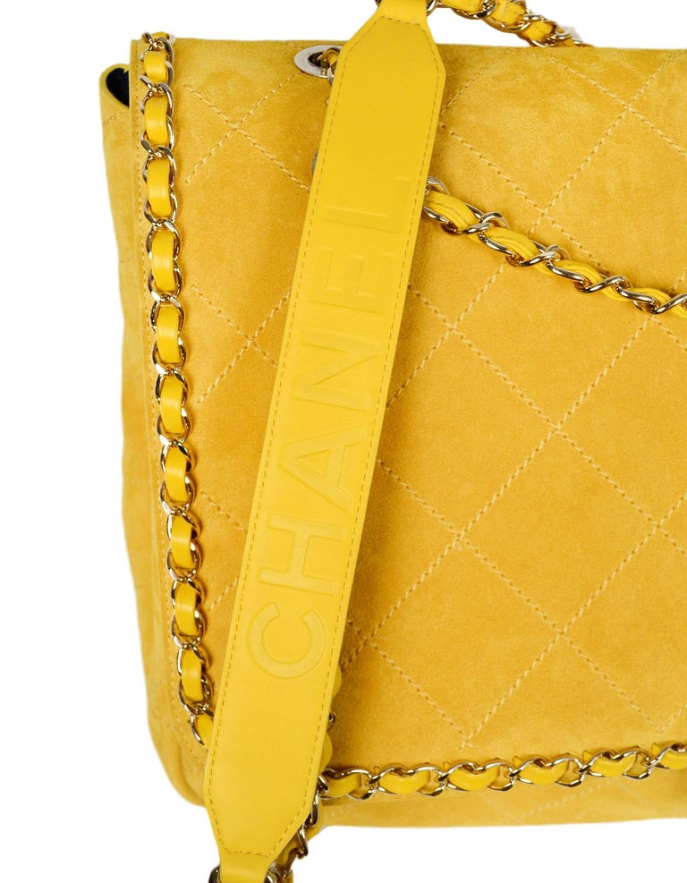 f05479d0aae205 CHANEL x PHARRELL 2019 LIMITED EDITION Yellow Suede XXL Quilted Flap Bag  For Sale 2