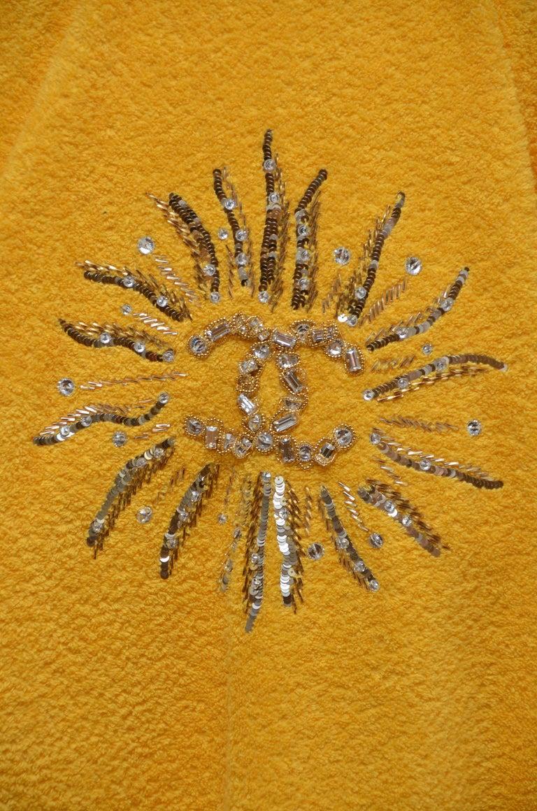 Orange Chanel x Pharrell Capsule Collection Bathrobe Saffron  Lesage Embroidery M  NEW For Sale