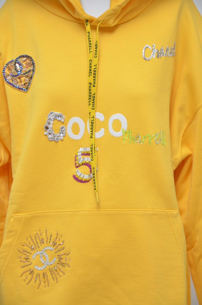 Women's or Men's  Chanel x Pharrell Capsule Collection Hoodie  Lesage Embroidery Yellow  L NEW For Sale