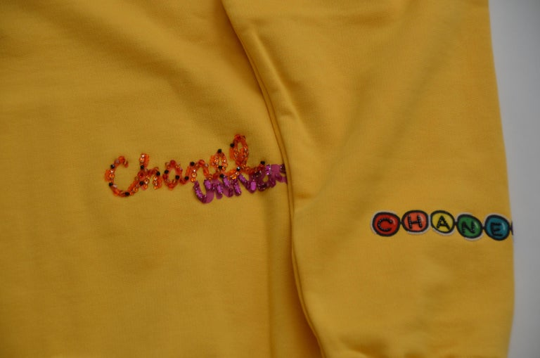 Chanel x Pharrell Capsule Collection Hoodie  Lesage Embroidery Yellow  L NEW For Sale 2