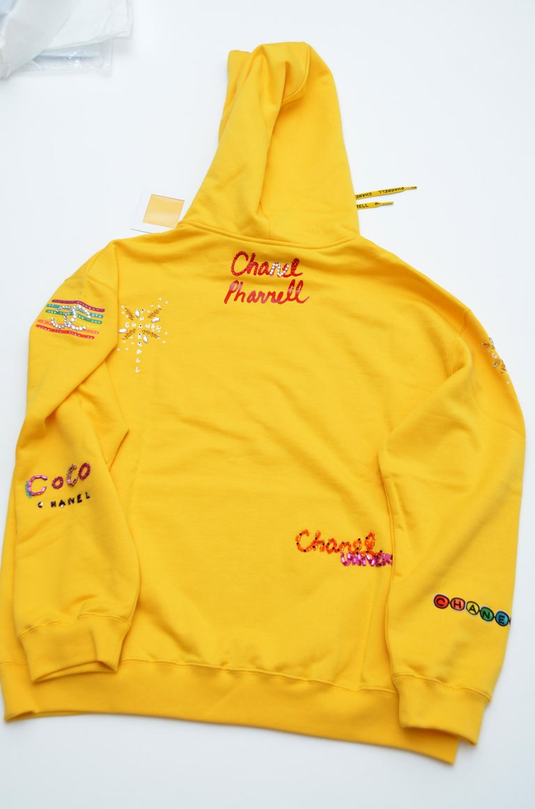 Chanel x Pharrell Capsule Collection Hoodie  Lesage Embroidery Yellow  L NEW For Sale 3