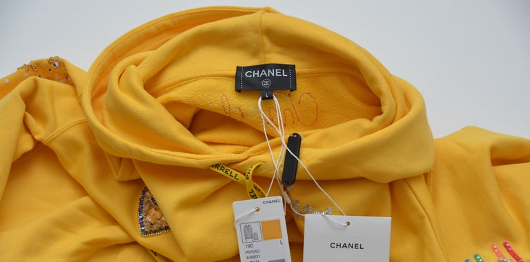 Chanel x Pharrell Capsule Collection Hoodie  Lesage Embroidery Yellow  L NEW For Sale 5