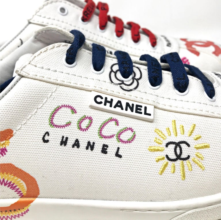 Chanel x Pharrell Capsule Collection Graffiti Sneakers  An urban capsule collection highlighting Pharrell Williams' longterm relationship with the House of Chanel and initiated by Karl Lagerfeld .    Please note:due to camera flashlight color tone