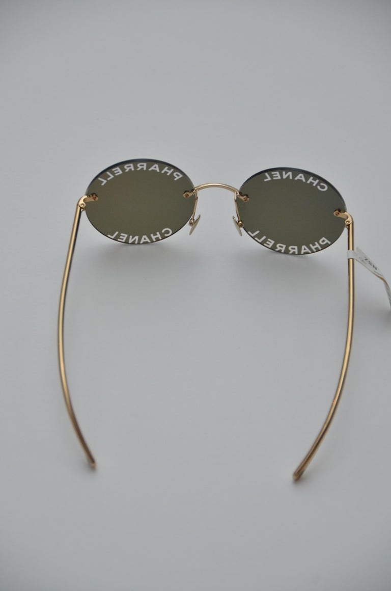 Chanel x Pharrell Capsule Gold-plated  Reflective  Sunglasses NEW In New Condition For Sale In Hollywood, FL