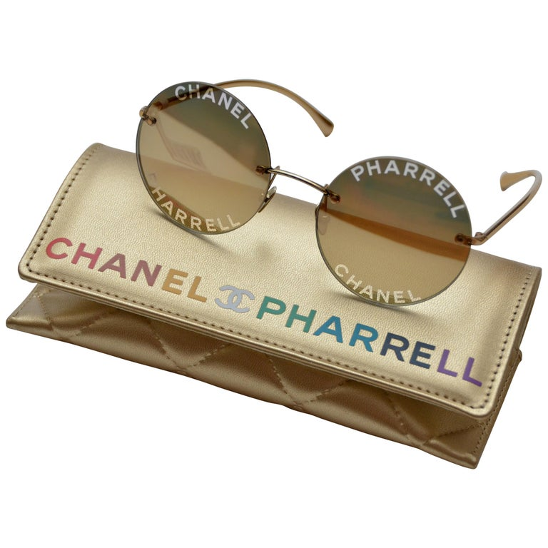 0e841507d4 Chanel x Pharrell Capsule Gold-plated Reflective Sunglasses NEW For Sale