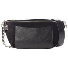 Chanel x Pharrell NEW Black Leather Suede Gold Fanny Pack Bum Waist Belt Bag