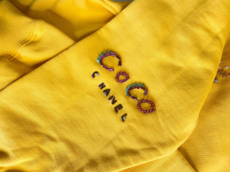 Chanel x Pharrell 2019 Chanel Appliqué Sunflower Yellow Hoodie  For Sale 2