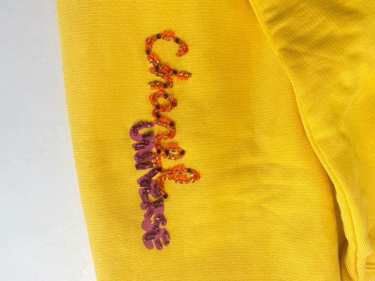 Chanel x Pharrell 2019 Chanel Appliqué Sunflower Yellow Hoodie  For Sale 3