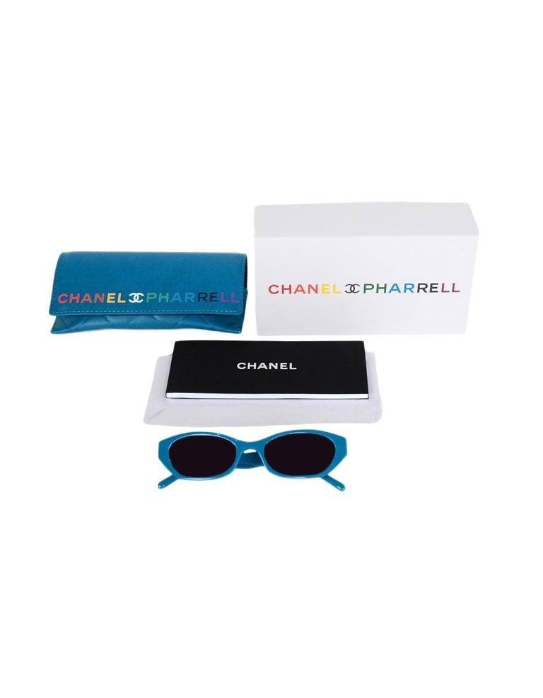 Chanel x Pharrell Williams 2019 Blue & Grey Small Rectangular Sunglasses For Sale 6