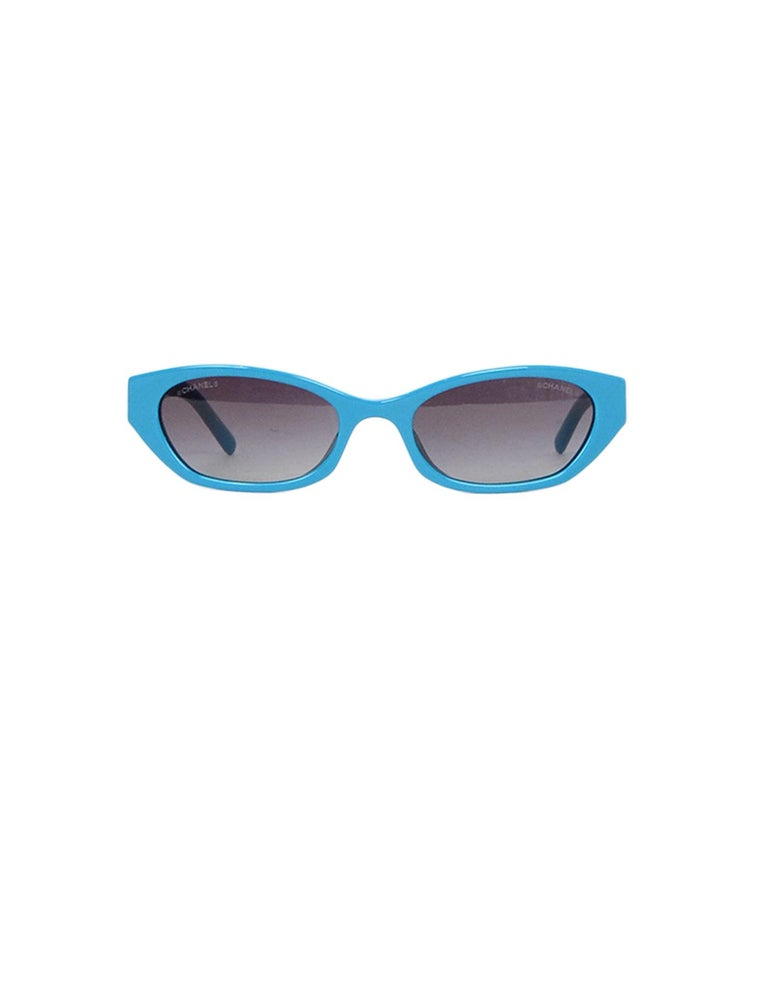 Chanel x Pharrell Williams 2019 Blue & Grey Small Rectangular Sunglasses In New Condition For Sale In New York, NY