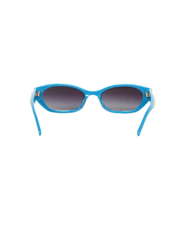 Women's or Men's Chanel x Pharrell Williams 2019 Blue & Grey Small Rectangular Sunglasses For Sale