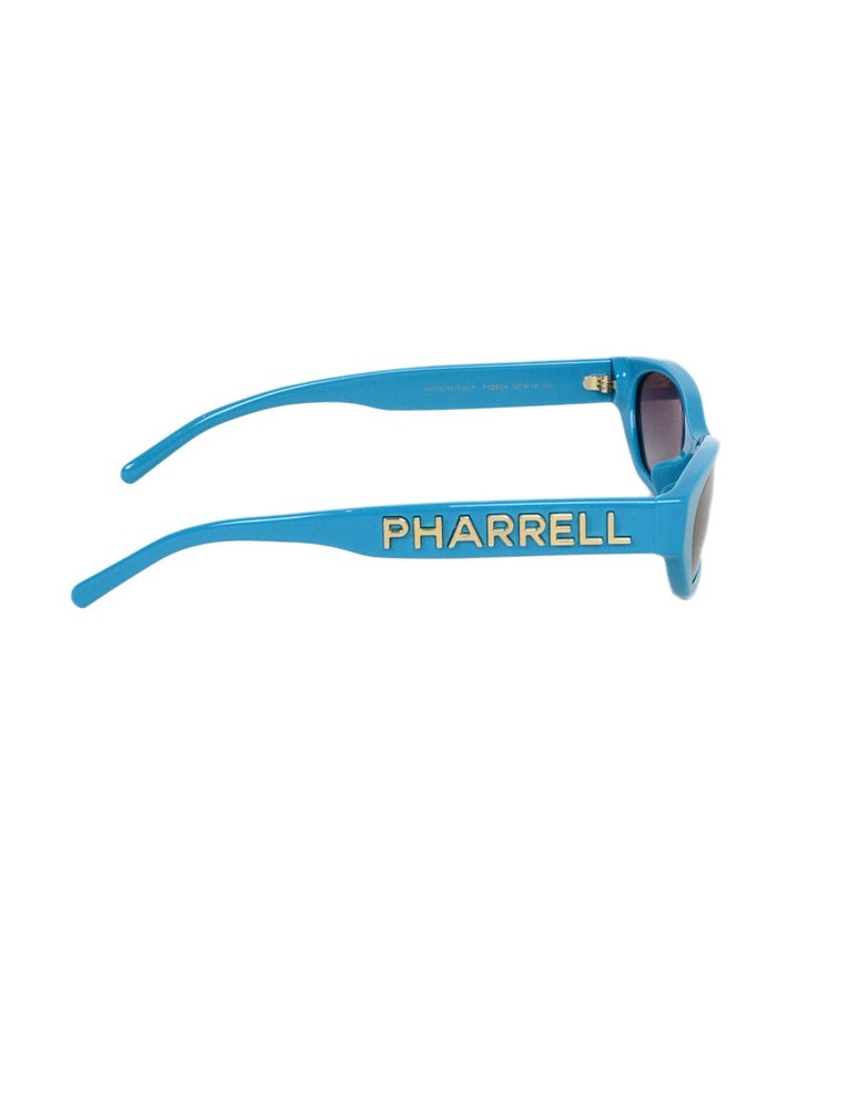 Chanel x Pharrell Williams 2019 Blue & Grey Small Rectangular Sunglasses For Sale 1