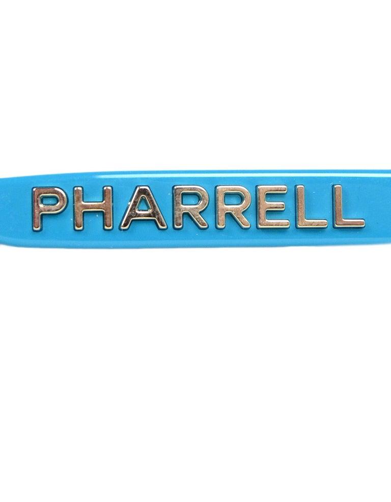 Chanel x Pharrell Williams 2019 Blue & Grey Small Rectangular Sunglasses For Sale 2