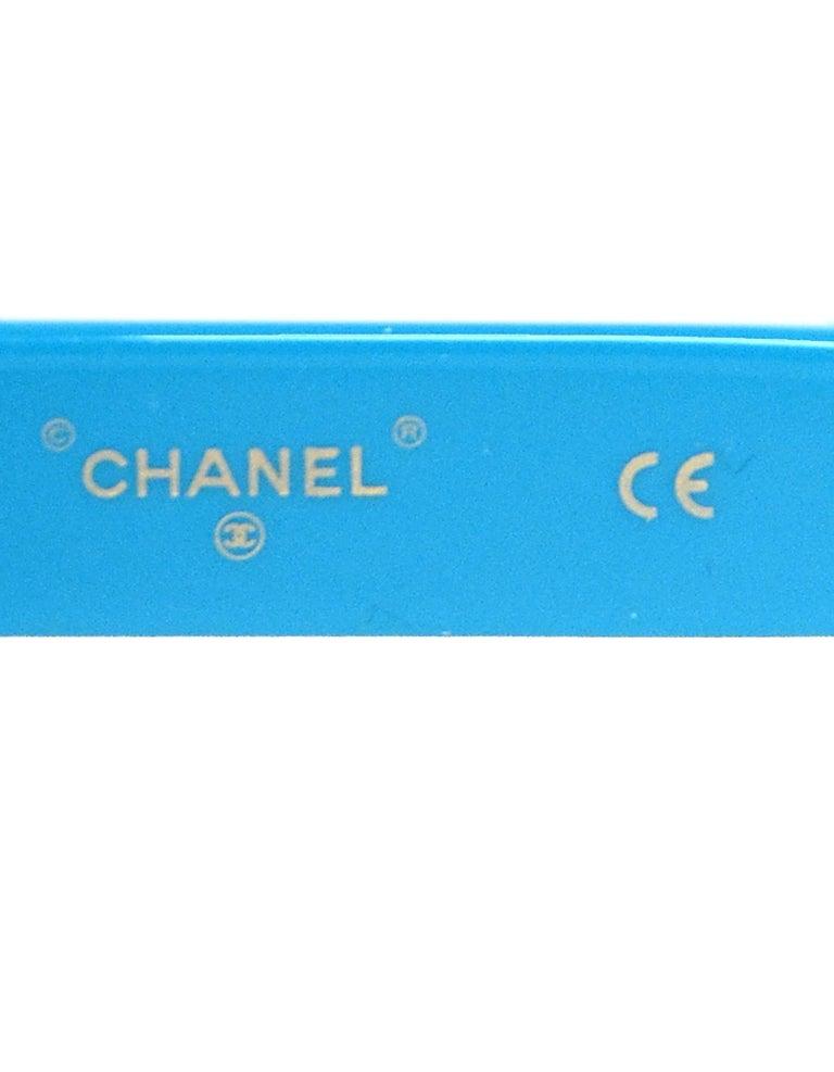 Chanel x Pharrell Williams 2019 Blue & Grey Small Rectangular Sunglasses For Sale 4