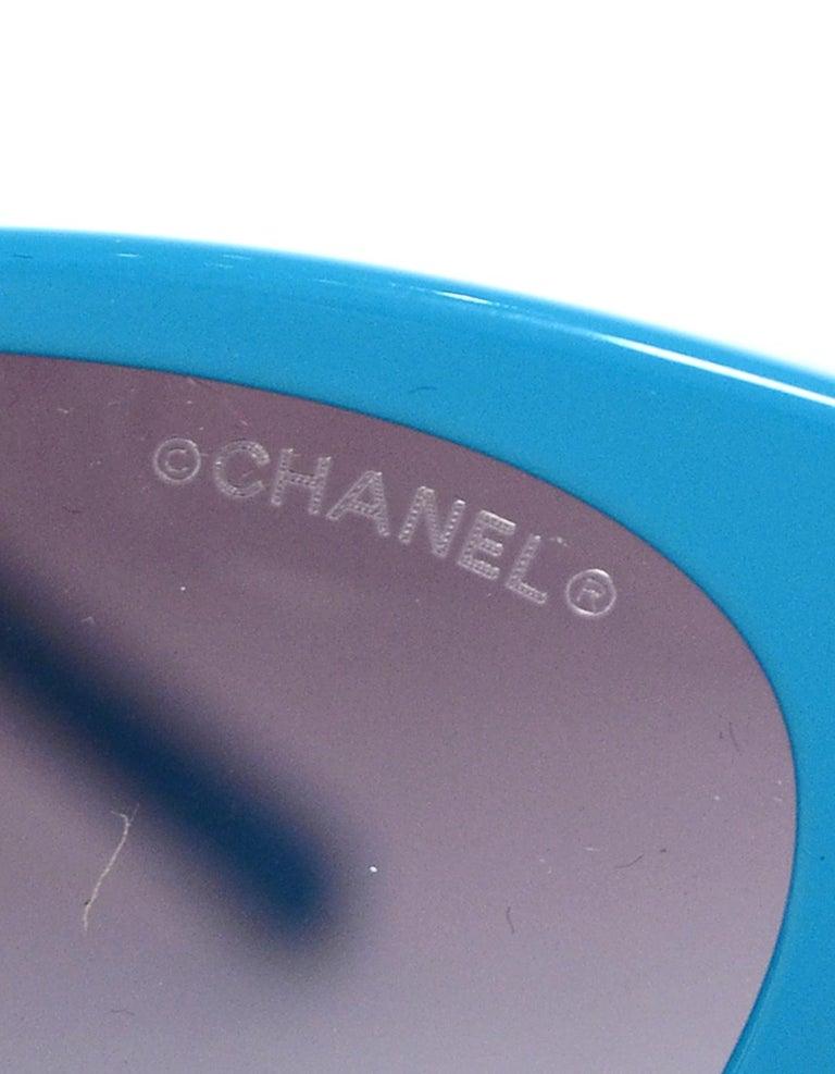 Chanel x Pharrell Williams 2019 Blue & Grey Small Rectangular Sunglasses For Sale 5