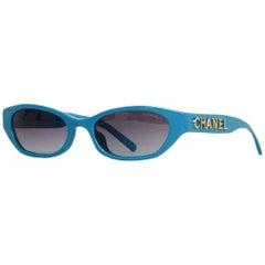 Chanel x Pharrell Williams 2019 Blue & Grey Small Rectangular Sunglasses