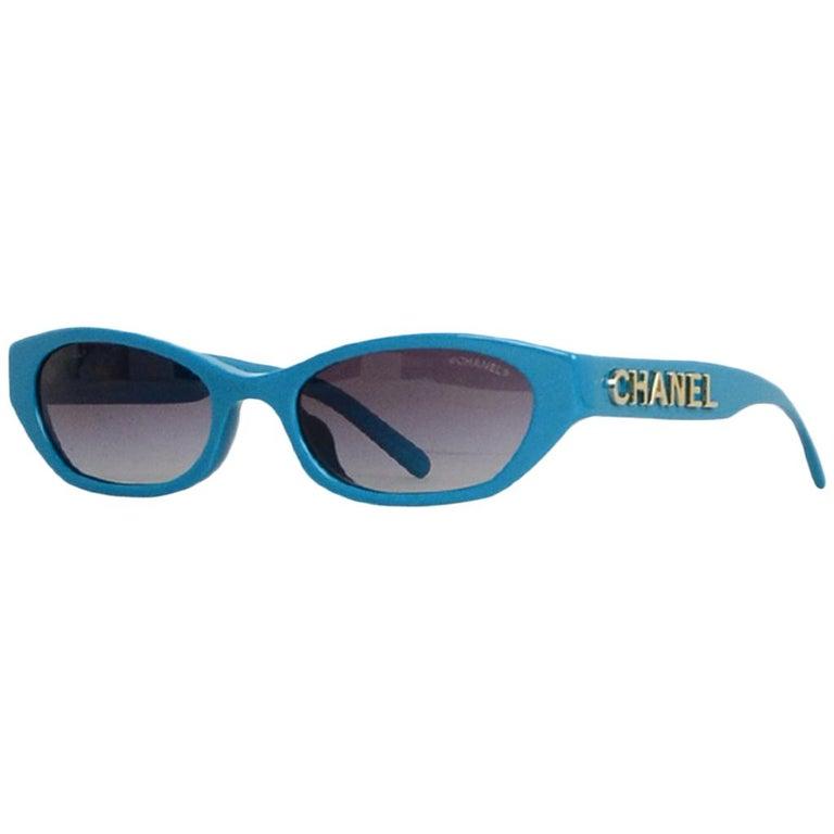 Chanel x Pharrell Williams 2019 Blue & Grey Small Rectangular Sunglasses For Sale