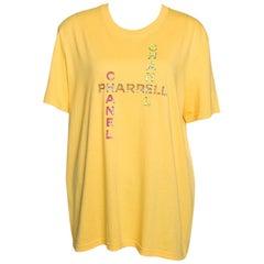 Chanel X Pharrell Yellow Embellished Cotton Short Sleeve T-Shirt L