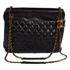 Chanel XL Black Lambskin Shopper Bag