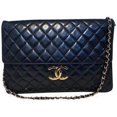 Chanel XL Black Quilted Lambskin Leather Classic Clutch Flap