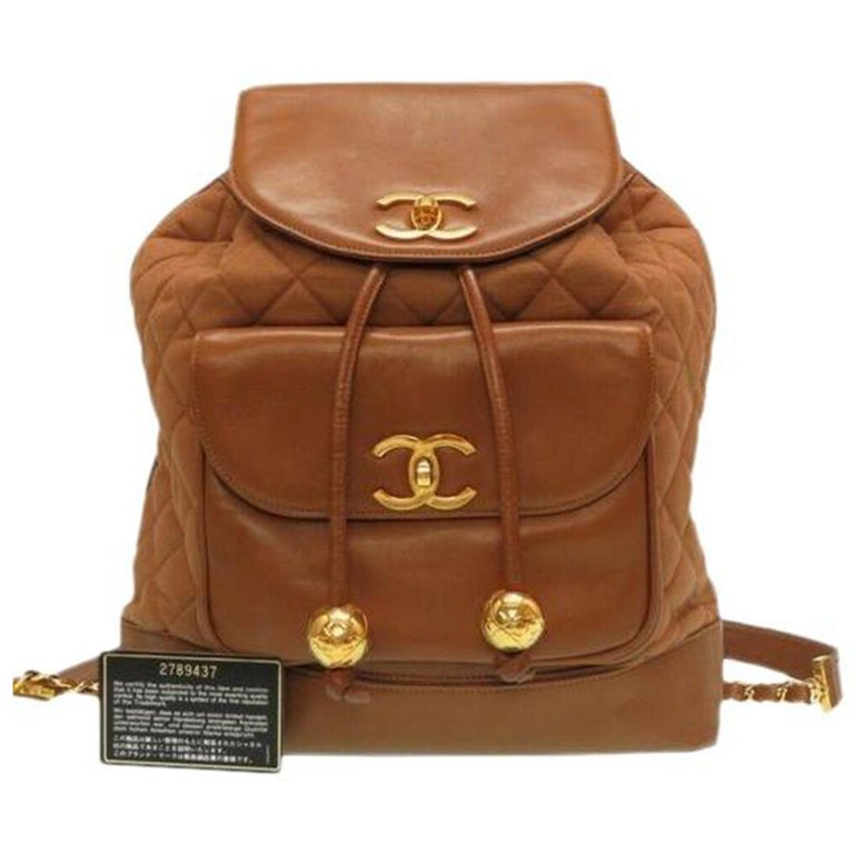 Chanel XL Cognac Brown Vintage 90's Backpack In Good Condition For Sale In Miami, FL