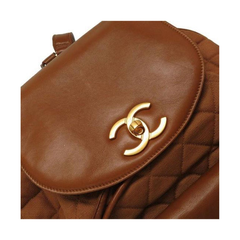 Chanel XL Cognac Brown Vintage 90's Backpack For Sale 1