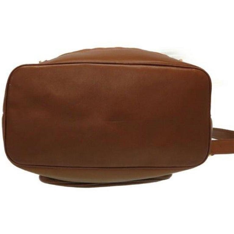 Chanel XL Cognac Brown Vintage 90's Backpack For Sale 4
