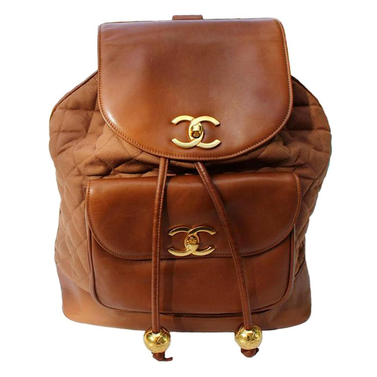 Chanel XL Cognac Brown Vintage 90's Backpack For Sale