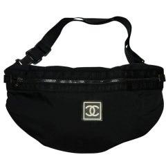 Chanel XL Oversized Fanny Pack Sling Gym Sport Black Nylon Cross Body Bag