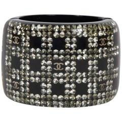 Chanel XL Wide Black Lucite Hinged Cuff Bracelet