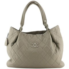 Chanel Yacht Expandable Zipper Hobo Quilted Caviar Small